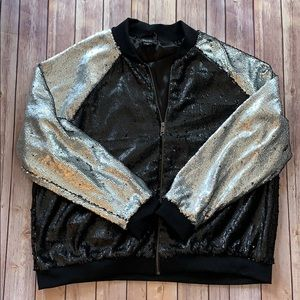 Paper Tee Sequin Bomber Jacket black and Silver 3X